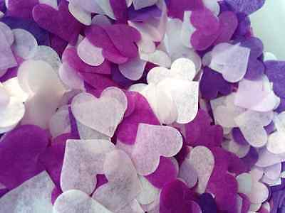 1500 Biodegradable Tissue Paper Heart Confetti PURPLE LILAC PINK IVORY Wedding