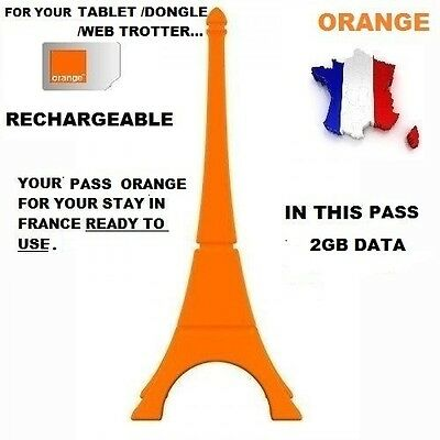 New! Ready To Use  French Pass Internet Orange/pay As You Go With 2Gb Data