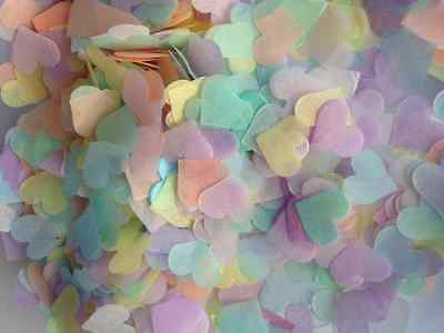 FILL 2 CONES 1800 Wedding Confetti Biodegradable Tissue Paper Hearts PASTEL Eco