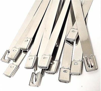 """5 -100pcs Stainless Steel Metal Self Locking Cable Tie Wraps (7.9x600mm) (24"""")"""