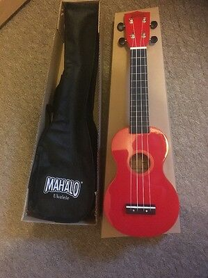 New Red Mahalo Soprano Ukulele Uke With Bag - Ideal Christmas Present Gift.