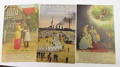 WW1 Bamforth Song Postcard 1914 1918 x 3 THE BRAVEST THE BEST No 4789/1/2/3