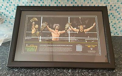 wwe rare money in the bank plaque seth rollins roman regins and dean ambrose