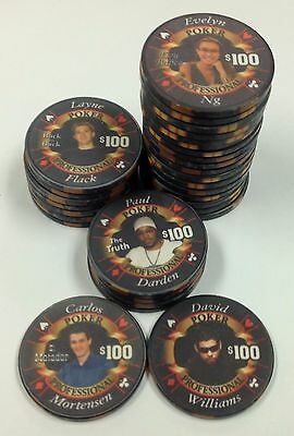 Set of 30 Poker Professional $100 Casino Ceramic Chips ChipCo. FREE SHIPPING