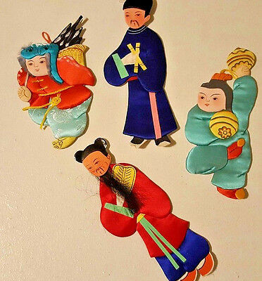 "Vintage Asian Paper Dolls 6"" Satin Silk Cloth Ornaments Hand Painted Lot of 4"