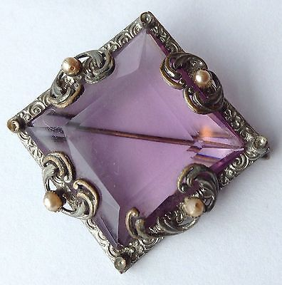 Vintage Czech Signed Light Purple Glass Stone And Faux Pearl Brooch