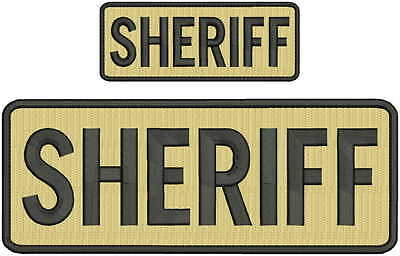 Sheriff embroidery Patch 4x10 and 2x5 hook  tan