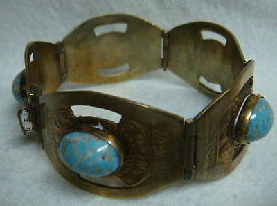 """7"""" STERLING SILVER BRACELET w/Turquoise & Gray Stone Marked 925 & Made in Mexico"""