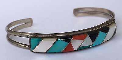 Native American Sterling Silver Zuni Turquoise Red Coral Jet Inlay cuff bracelet
