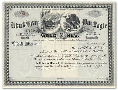 Black Bear - War Eagle Gold Mines Incorporated Stock Certificate