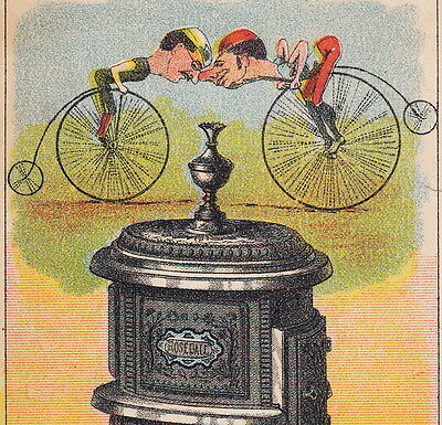 Antique Rosedale Parlor Stove Peckham NY Bicycle Bike Wheelmen Advertising Card