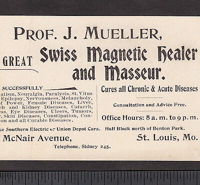 The Great Magnetic Healer Masseur Prof J Mueller Quack Cancer Scam St Louis Card