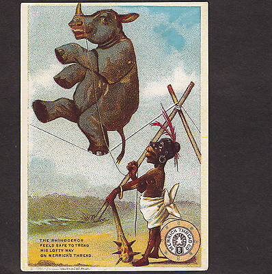 African Black Rhinoceros Antique Merrick Sewing Thread Circus Tightrope Ad Card