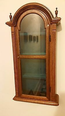 Antique Wood  Wall Mounted Curio Cabinet with Glass Door