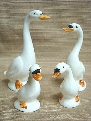 4 Piece TINY PORCELAIN GOOSE FAMILY -  Very Sweet & Perfect