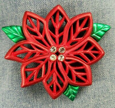 Poinsettia Christmas Pin Brooch Red Green