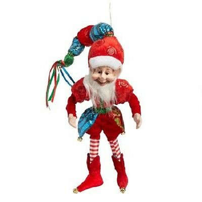 """NEW Red & Blue ELF JESTER Christmas DOLL Poseable 14"""" TALL W/ Real JINGLE BELLS"""