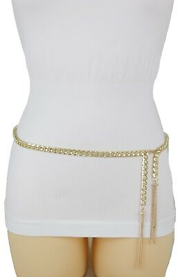 Women Fashion Belt Hip High Waist Gold Narrow Metal Chain Chunky Fringe M L XL