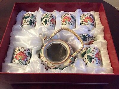 Chinese Porcelain Tea Pot Set With 6 Cups in the box