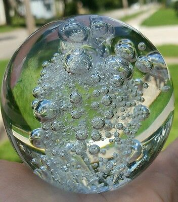 """Crystal Clear Glass Round Crystal Ball Paper Weight Controlled Air Bubbles 3"""""""