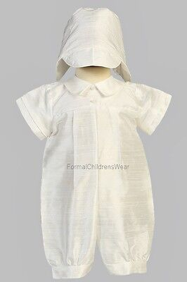 New Boys Christening Baptism Raw Silk Pleated Romper Outfit w/ Hat Size 12-18M