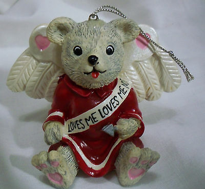 "Valentine Gray Bear Cupid Wings Bow & Arrow Loves Me 2.5"" Hanging Figurine 1997"