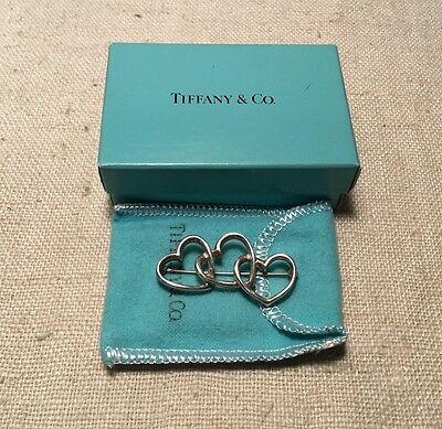 Tiffany & Co. Vintage Authentic Mexico Sterling Silver Triple Heart Pin