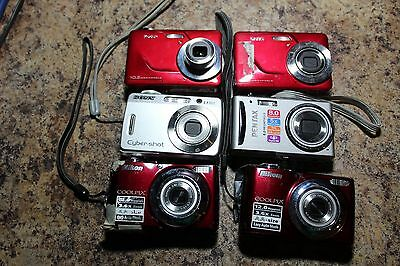 Lot:16 Digital/film Cameras/lenses- For Parts Only- Kodak/canon/pentax/nikon/son