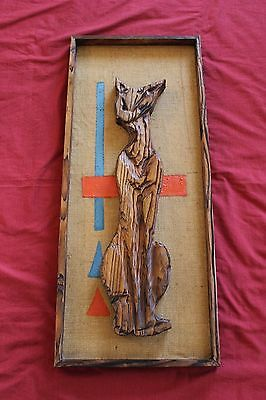 1962 SEATTLE WORLD'S FAIR Carved Cat ORIGINAL Wall Art Vintage Antique COIN