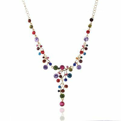 Fashion Crystal Women Bib Collar Choker Chunky Chain Pendant Statement Necklace