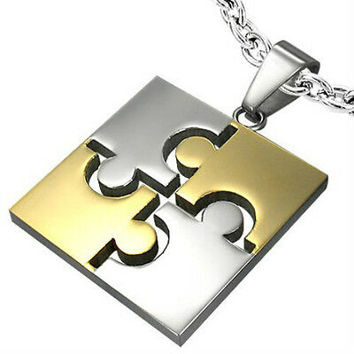 GIFTS FOR MEN NEW Stainless Steel Silver & Gold Tone Jigsaw Square Tag Pendant