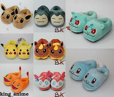 Kids Plush Slippers Pokemon Go Pikachu Eevee Snorlax Charmander Warm Shoes 21CM