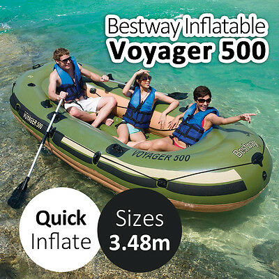 BESTWAY 3.48x1.42M Voyager 500 Adult x3 Inflatable Fishing Boat w/ Cushion