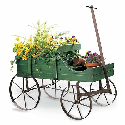 AMISH WAGON ROLLING WOODEN CART YARD Garden Decor PLANTS Decorative FLOWER STAND