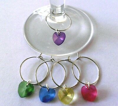 5 pc WINE GLASS silver rings mixed colour HEART CHARM wedding, party, favour