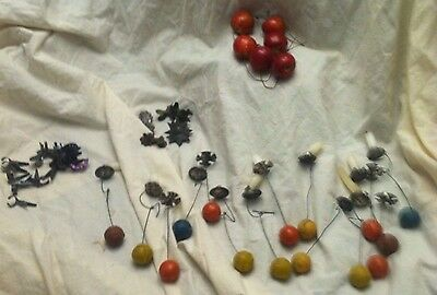 Vintage German Ornaments candle clips, apples, Counterweight Counterbalance clay