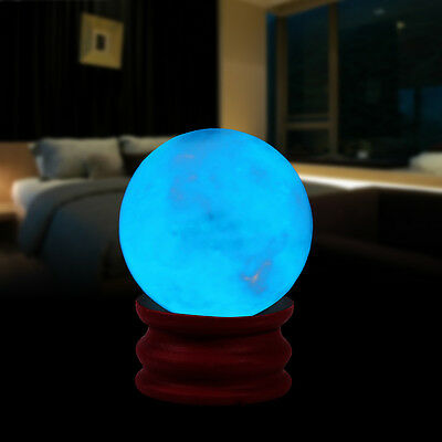 35mm Glow In The Dark Stone Blue Luminous Quartz Crystal Sphere Ball with Stand