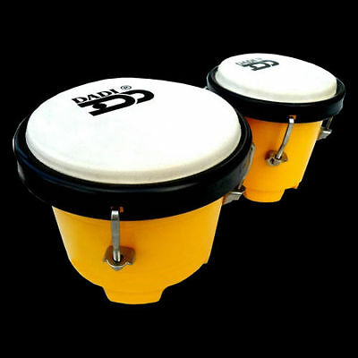 "Dadi  4½ & 5"" Yellow Mini Bongo Drums Tuneable Natural Skins  Plastic Shells New"
