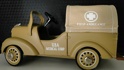 Ford Army Truck Pedal Car WW2  U S Military Medical Ambulance Vintage Model Art
