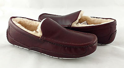 UGG Ascot Cordovan Brown Leather Fur Slippers Mens 11 (Fits Size 10) *NIB*