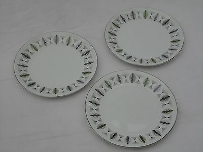 Vintage White Mist Ridgway Fanfare Made In England Plates Set of 3