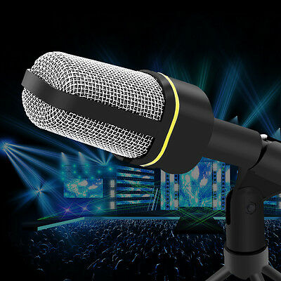 Professional 3.5mm Podcast Studio Microphone w/ stand Mic for Skype Desktop PC