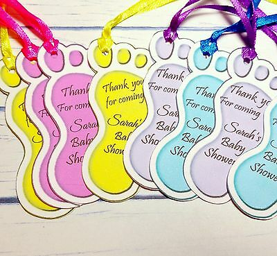 30x Personalised Baby Footprints Baby Shower Baptism Birthday Favour Gift Tags