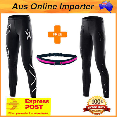 2XU Womens LONG Compression tights/pants/skins Silver/Black with Gym Pack