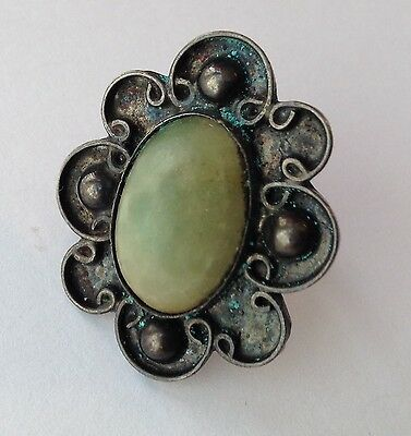 Vintage Mexico Signed Sterling Silver Green Stone Ring Size 6.5
