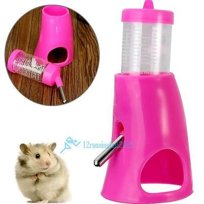 2 in 1 Hamster Water Bottle Holder Dispenser With Base Hut Small Animal Nest Toy