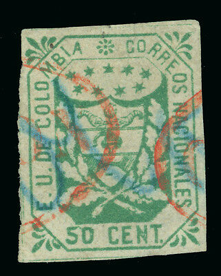 COLOMBIA 1863  Coat of Arms  50c green  Sc# 33 used VF+  Red cancel