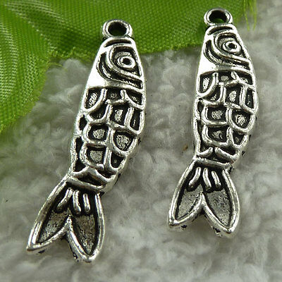 free ship 160 pieces tibet silver fish charms 37x9mm #3736