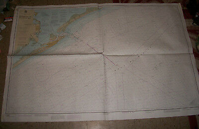 1986 Nautical Chart Map Appraoches to Galveston Bay Texas DEPT of Commerce NOAA