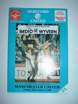 Hereford United v Manchester United FA Cup Rd 4 1990